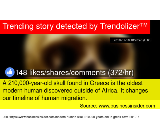 A 210,000-year-old skull found in Greece is the oldest