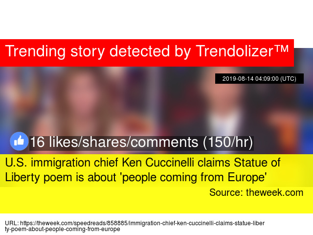 Us Immigration Chief Ken Cuccinelli Claims Statue Of